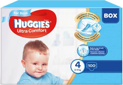 Scutece Huggies Ultra Confort, Boy, nr4, 8-14kg, 100buc.