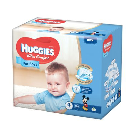 Scutece Huggies Ultra Confort, Boy, nr4, 8-14kg, 126buc.