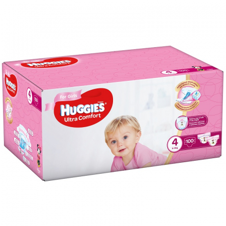 Scutece Huggies Ultra Confort, Girl, nr4, 8-14kg, 100buc.