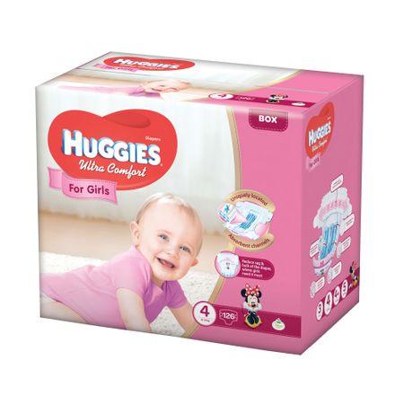 Scutece Huggies Ultra Confort, Girl, nr4, 8-14kg, 126buc.