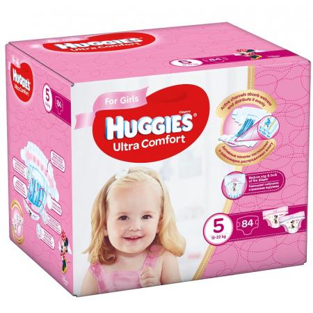 Scutece Huggies Ultra Confort, Girl, nr5, 12-22kg, 84buc.