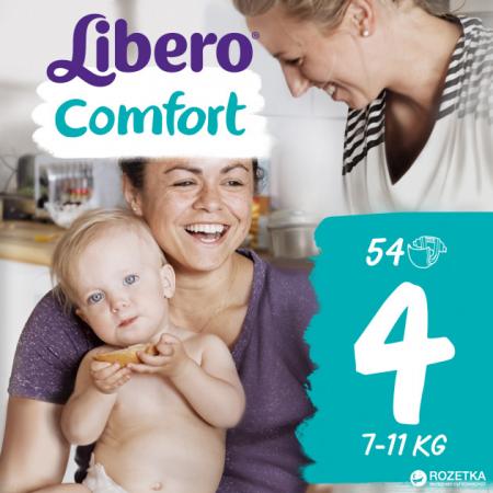 Scutece Libero Comfort, nr4, 7-11kg, 54 buc