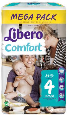 Scutece Libero Comfort, nr4, 7-11kg, 84 buc