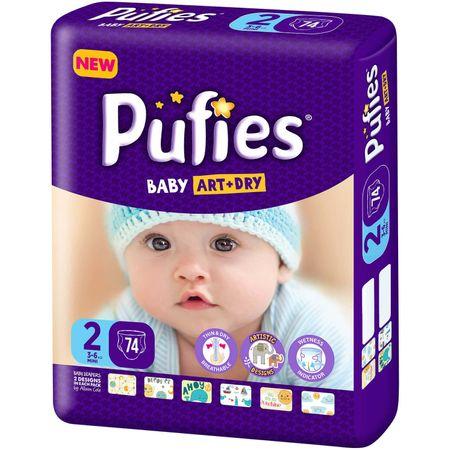 Scutece Pufies Baby Art Dry, nr2 MP, Mini, 3-6 kg, 74 buc.