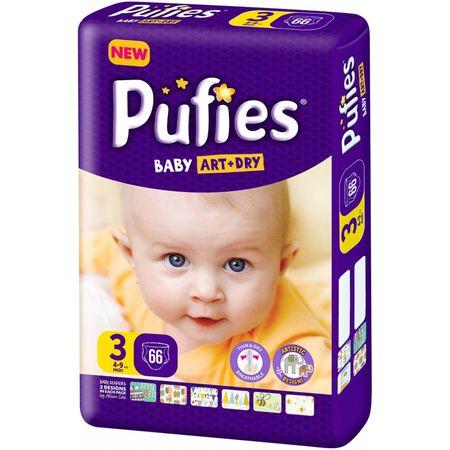 Scutece Pufies Baby Art Dry, nr3 MP, Midi, 4-9 kg, 66 buc.