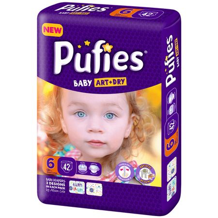 Scutece Pufies Baby Art Dry, nr6 MP, Extra Large, 13+ kg, 42 buc.