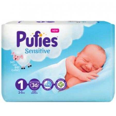 Scutece Pufies Sensitive, nr1 SP, New Born, 2-5 kg, 36 buc
