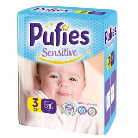 Scutece Pufies Sensitive, nr3 SP, Midi, 4-9 kg,  20 buc.