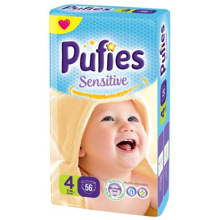 Scutece Pufies Sensitive, nr4, Maxi MP, 7-14 kg, 56 buc.