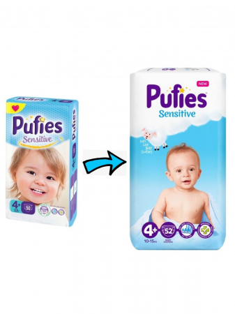 Scutece Pufies Sensitive, nr4+ MP, Maxi+, 9-16 kg, 50 buc.