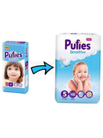 Scutece Pufies Sensitive, nr5 MP, Junior, 11-20 kg,  48 buc.