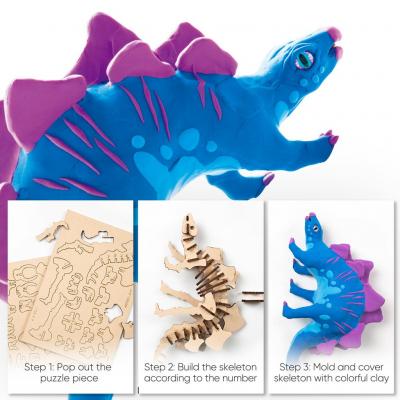 Puzzle 3D Modeling Clay Stegosaurus [7]