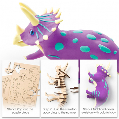 Puzzle 3D Modeling Clay Triceratops [6]