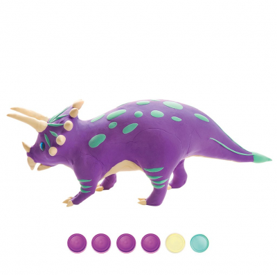 Puzzle 3D Modeling Clay Triceratops [0]