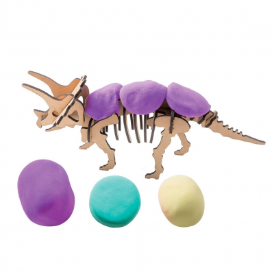 Puzzle 3D Modeling Clay Triceratops [3]