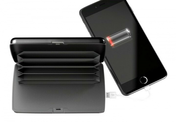 Portofel Carduri securizat RFID si Incarcator Baterie Externa 2in1 E-Charge Wallet negru [1]