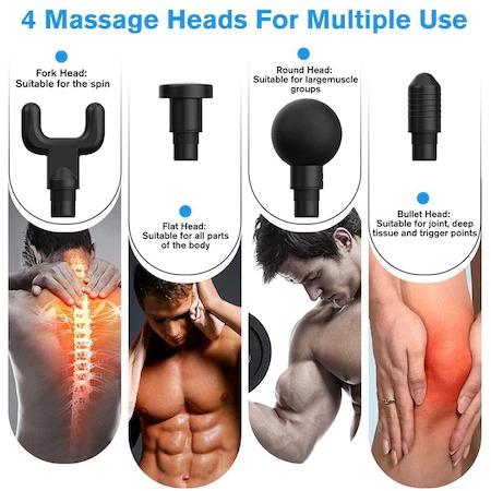Aparat de masaj Profesional Fascial Gun cu Vibromasaj, portabil cu acumulator 8,4V inclus, 4 capete, 6 trepte de viteza Putere 24W [4]