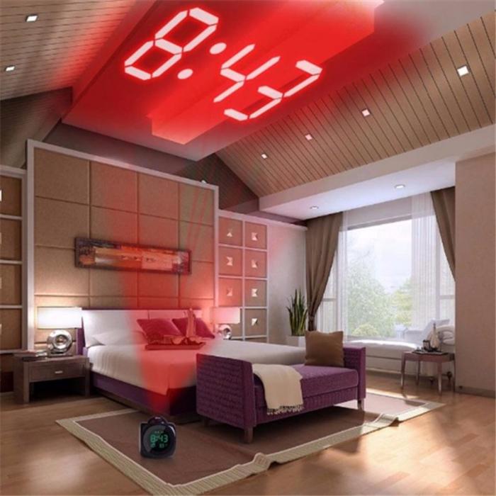Ceas Led cu proiector si control vocal, multifunctional, digital, Lcd, plin de culoare, cu afisare ora, temperatura si sistem de alarma Negru [4]