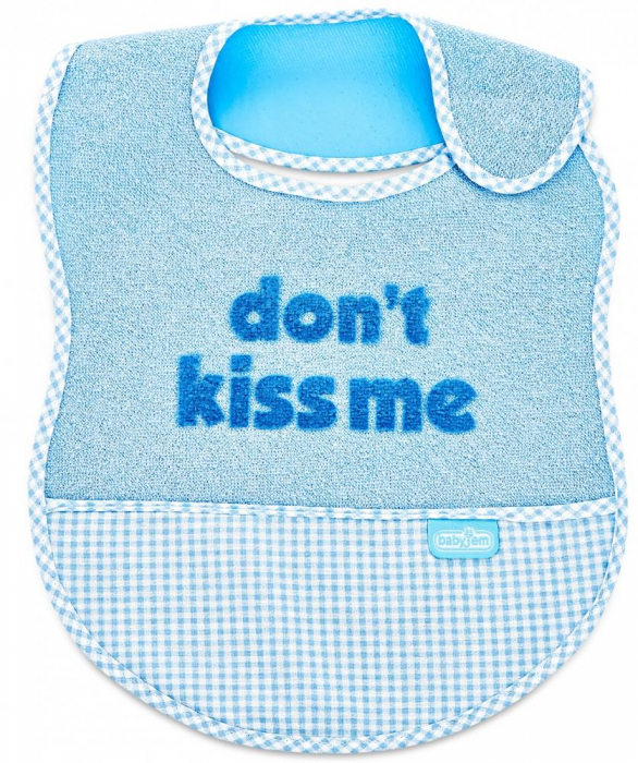 Baveta BabyJem din bumbac Dont Kiss Me Blue [0]