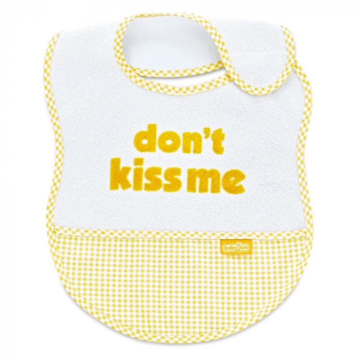 Baveta BabyJem din bumbac Dont Kiss Me Yellow [0]