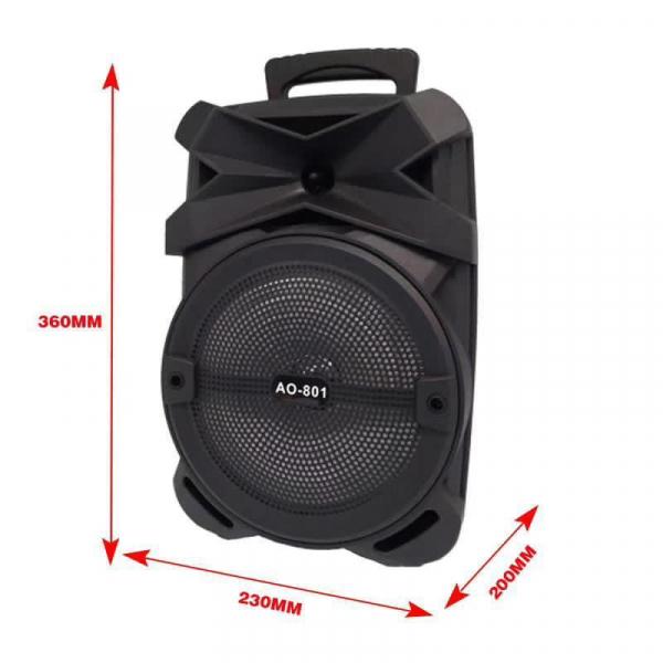 Boxa Activa Portabila 150 W , 8 Inch  USB, Radio, Bluetooth,Telecomandă,Negru [1]