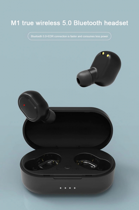 Casti Bluetooth Wireless. TWS Earbud cu Tehnologie BT 5.0 Negru [2]