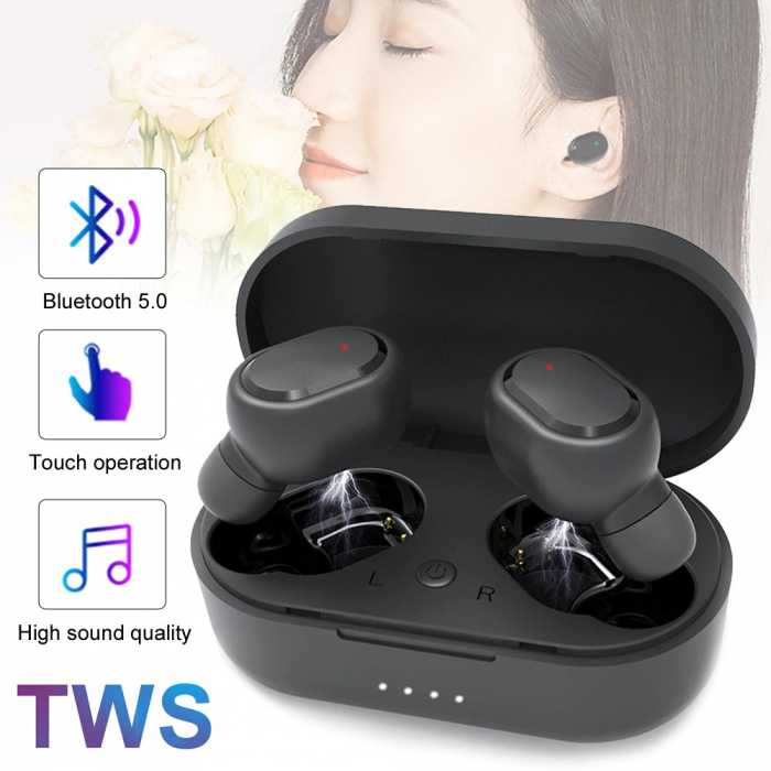 Casti Bluetooth Wireless. TWS Earbud cu Tehnologie BT 5.0 Negru [4]
