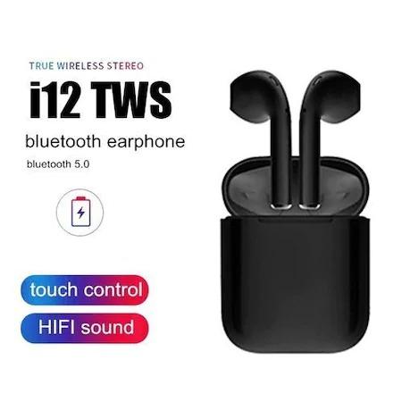 Casti Wi-Fi HD AIX, i12, Wireless, Bluetooth V5.0+, Profesionale, 3D sound, Touch Control Senzor, fast charging, POP-UPS, IPX5, microfon, compatibile cu Bluetooth  Stereo AirPods,Negru [2]