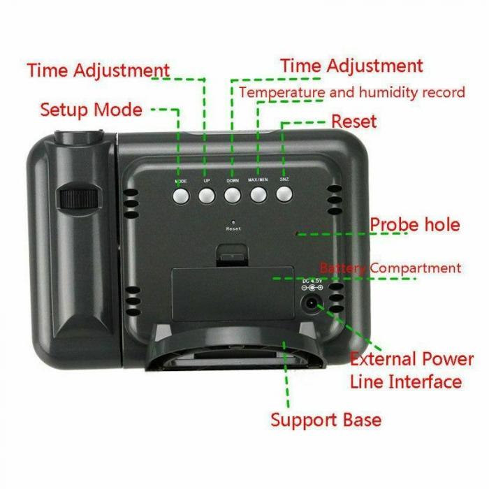 Ceas cu proiectie DS-8190, LCD, alarma [3]