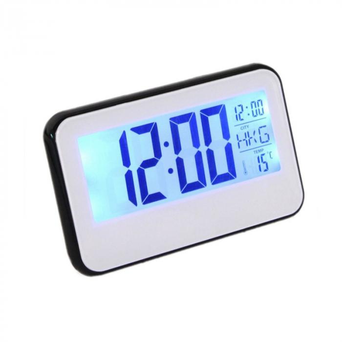 Ceas digital cu Display LCD, Functie termometru, Alarma, Design Modern, Control Vocal [0]