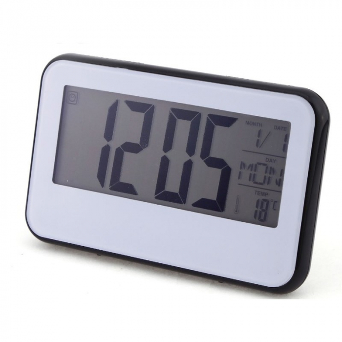 Ceas digital cu Display LCD, Functie termometru, Alarma, Design Modern, Control Vocal [1]