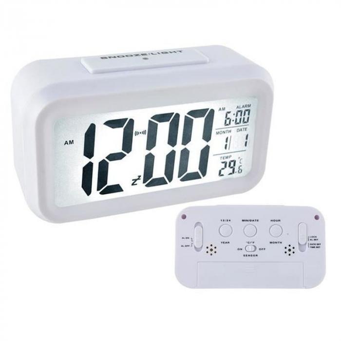 Ceas digital LCD, senzor pentru iluminare, alarma, termometru, calendar 1019 [0]