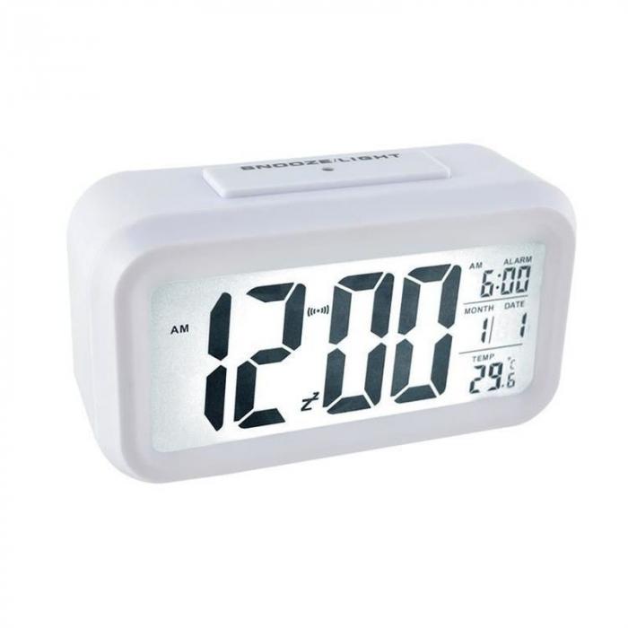 Ceas digital LCD, senzor pentru iluminare, alarma, termometru, calendar 1019 [2]