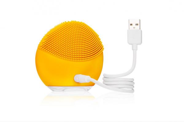 Dispozitiv curatare faciala si masaj Forever, mini, baterie reincarcabila, hipoalergenic Yellow [3]