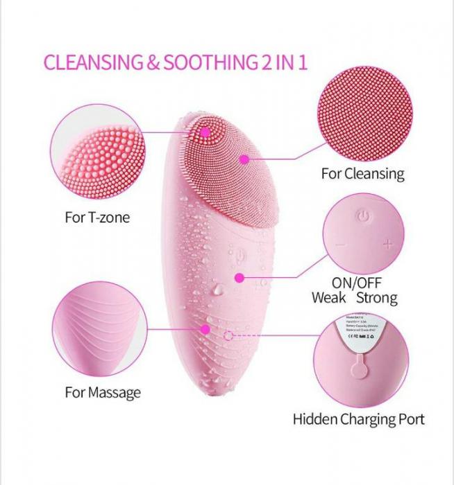 Dispozitiv de curatare faciala, Horigen™ DeepClean Pro V2, 12000 oscilatii/min, viteza ajustabila, acumulator 400mAh, rezistent la apa, tehnologie cu ioni negativ, roz [0]