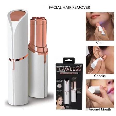 Epilator facial, Trimmer Flawless Skin, Aparat portabil pentru indepartarea parului facial cu LED- Flawless Finishing Touch - Alb/ Alaska White [1]
