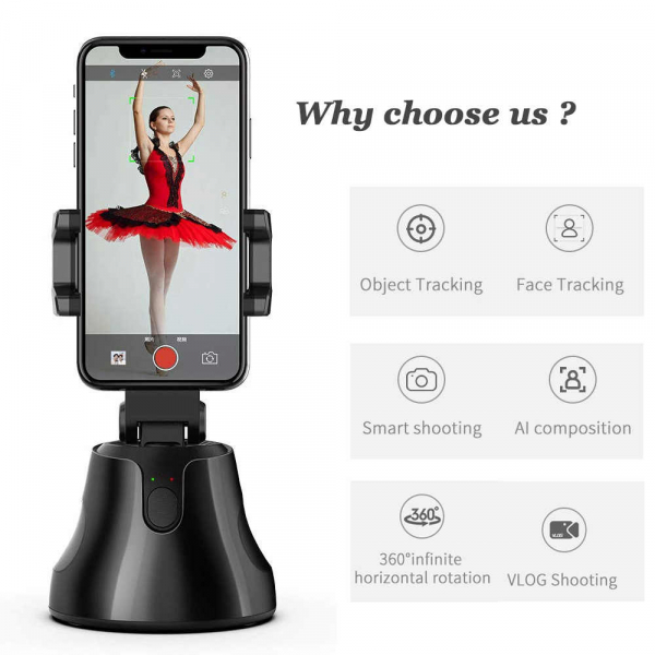 Suport selfie pentru telefon, urmarire automata inteligenta si rotire la 360 [6]