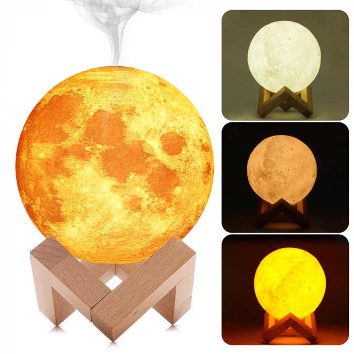 Lampa de veghe cu umidificator, Luna Moon 3D, Aromaterapie 13 CM, Reincarcabila cu acumulator, lumina 3 culori + stand lemn [3]