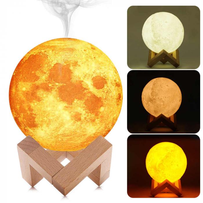 Lampa de veghe XL cu umidificator, Luna Moon 3D, Aromaterapie 15 CM, Reincarcabila cu acumulator, lumina 3 culori + stand lemn [0]