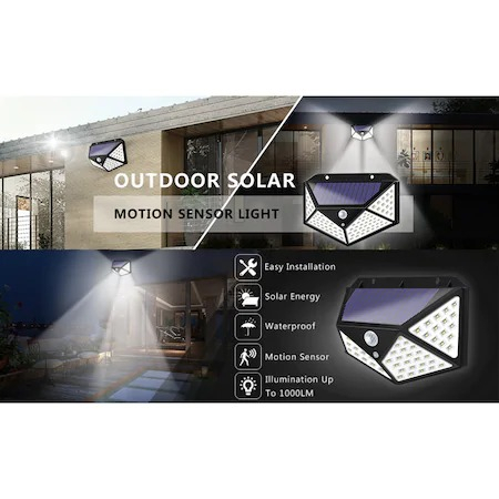 Lampa solara tripla,100 LED-uri HS-008, 1000 lumeni, panou solar polisiliciu, rezistena la apa, senzor de miscare si lumina, unghi luminare 270 grade, 2200mAh, negru [3]