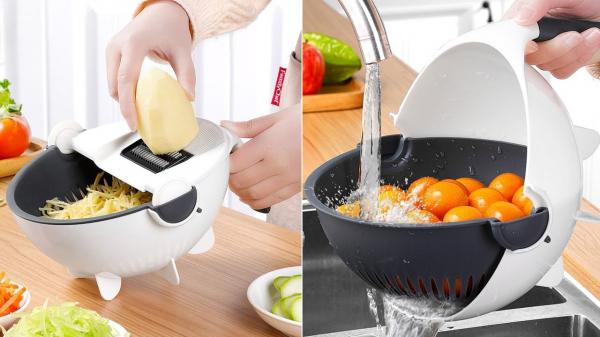 Feliator de legume cu strecurator, Vet Basket Vegetable Cutter [1]