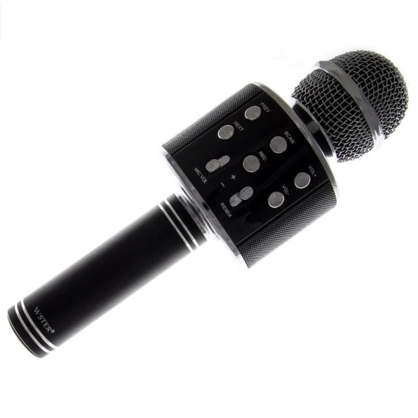 Microfon Wireless Kararoke WS-858 Card SD Negru [0]