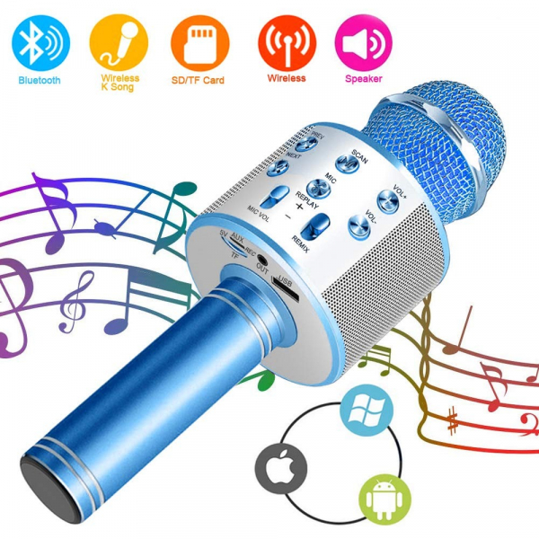 Microfon Wireless Kararoke WS-858 Card SD Albastru [1]