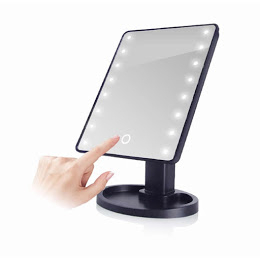Oglinda cu led pentru machiaj, Barste, functie touchscreen Negru [0]
