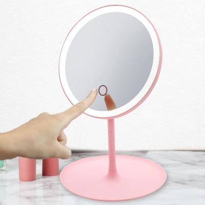 Oglinda make-up cu LED, rotund, plastic/sticla, roz, 16 x 16 x 29 cm [2]