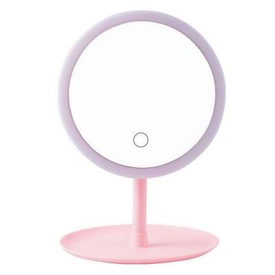 Oglinda make-up cu LED, rotund, plastic/sticla, roz, 16 x 16 x 29 cm [0]