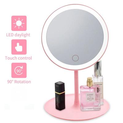 Oglinda make-up cu LED, rotund, plastic/sticla, roz, 16 x 16 x 29 cm [1]