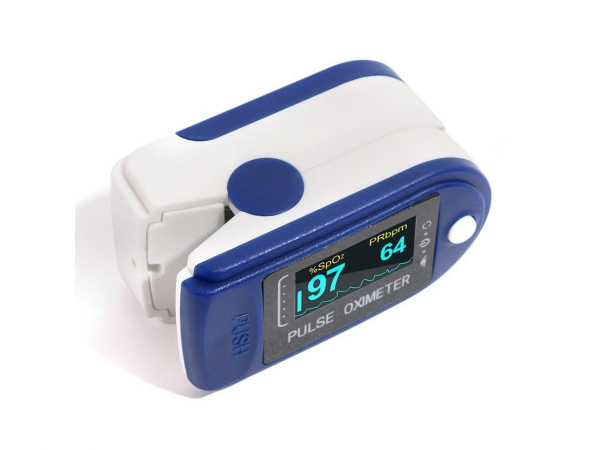 Pulsoximetru OXIMETER masoara saturatia oxigenului din sange si pulsul cardiac, display LED, alimentare baterii, alb cu albastru [2]