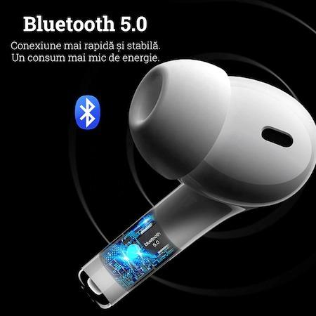 Casti Bluetooth Wireless PRO, compatibile iOS si Android, Carcasa cu incarcare wireless, Clona, TWS Pro, Bluetooth 5.0, Sunet HiFi, Functie Touch,Alb [4]