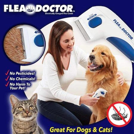 Aparat electric contra puricilor pentru caini, pisici si alte animale, Flea Doctor, Alb cu albastru [5]
